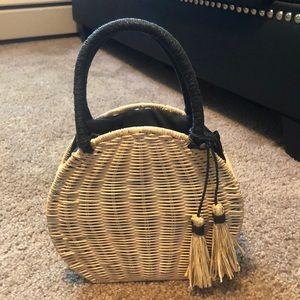 Cross body basket weave purse